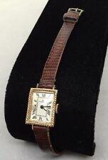 VTG Baume&Mercier Ladies 14k Watch W/Brown Leather Band w/COA
