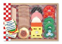 Melissa & Doug Wooden Sandwich Making Pretend Role Play Food PlaySet 16 piece