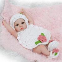 "Tiny Realistic Baby Doll Full Silicone Baby Girl Toy 11"" Kid Doll White Sweater@"