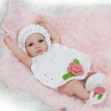 """Tiny Realistic Baby Doll Full Silicone Baby Girl Toy 11"""" Kids Doll White Sweater"""