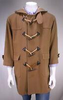 * J. PRESS * Vintage Prep Camel Brown Wool Duffle Toggle Hooded Coat 42 Short
