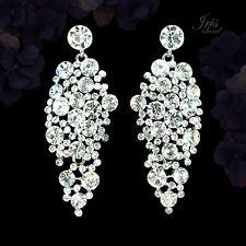 Rhodium Plated Sparkle Clear Crystal Rhinestone Chandelier Ear-nail Earrings