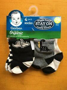Gerber Baby Boys 4-Pack Dinosaur Organic Cotton Socks - 0-6M - FREE SHIPPING!