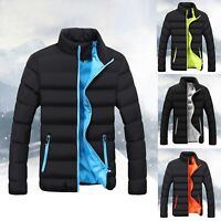 Mens Zip Up Quilted Padded Coat Puffer Bubble Jacket Winter Warm Outwear Tops