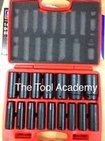 NEW HEAVY DUTY DEEP AIR IMPACT SOCKET SET 10-32mm 16 PIECE 1/2 DRIVE