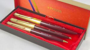 Collectable Rare Parker 45 Custom Fountain Pen Pencil BallPoint Set Crimson Red