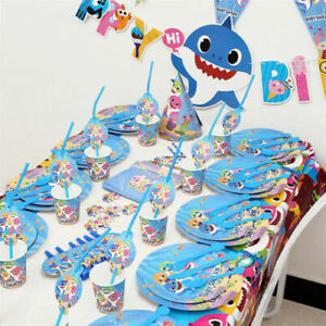 New Baby Shark Hat Plate Flag Topper Party Tableware Birthday Decors Supply