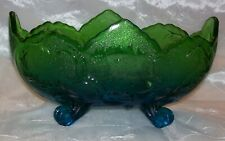 Vintage JEANNETTE GLASS LOMBARDI BLUE / GREEN Flashed 4-Toed Footed Console Bowl