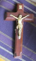 Vintage Divinity Sick Call Last Rites Crucifix Cross Box Wood Wall Crucifix Set