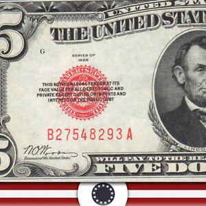 1928 $5 LEGAL TENDER *RED SEAL* B-A block  Fr 1525  B27548293A-DZZ