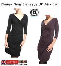 Polyester V Neck Wrap Dresses Size Petite for Women