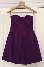 Oasis Belle Shot Purple Taffeta Strapless Bandeau Dress Size 10 VGC