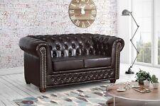 Edles Chesterfield Sofa 2 Sitzer in Kunstleder Vintage braun Couch Polstersofa