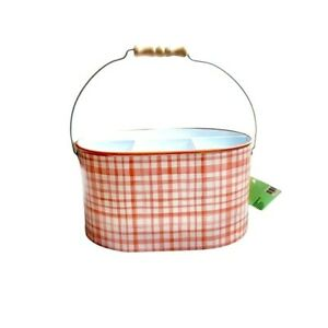 The Spring Shop Orange & White Buffalo Check Metal Caddy With Wood Handle
