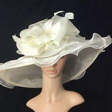 2017 New Ivory Kentucky Derby Hat Wide Brim Bridal Wedding Tea party horse race