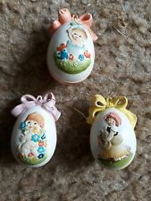 "Lot/3 Anri Ferrandie Painted Eggs. Approx. 2 "" 1980's"