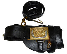 Civil War Indian War Cavalry Officers Leafed Leather Sword Belt & Square Buckle,