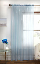 METALLIC PALE BLUE FOIL GLITTER STRIPED WHITE VOILE SLOT TOP CURTAIN NET PANEL