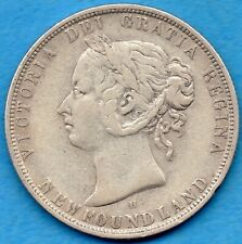 Canada Newfoundland 1876 H 50 Cents Fifty Cents Silver Coin - Fine+