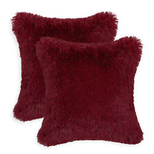 2Pcs Burgundy Pillows Shells Cushion Covers Soft Plush Faux Fur Home Decor 45cm