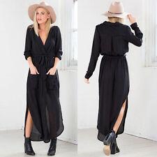 Womens Waterfall Jacket Long Cardigan Long Sleeve Loose Tunic Trench Coat Dress