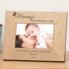 Personalised 1st Mother's Day Wooden Photo Frame 6x4 First Mother's Day Gift