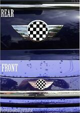2002 & up Mini Cooper & S model Front & Rear Badge Emblem Checkered Overlays
