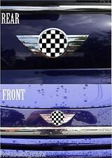 2002 & up Mini Cooper & S model Front & Rear Badge Emblem Checkered Overlays
