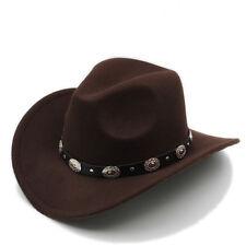 Men Women Wool Panama Hats Cowboy Western Caps Wide Brim Sombrero Fedora Trilby