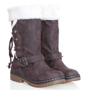 Women Snow Boots Fur Lined Winter Warm Insulated Waterproof Midi Calf Ski Shoes