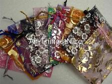 Small 10x7cm Drawstring Foil Pattern Organza Gift Pouch Bag WHOLESALE Joblot 10