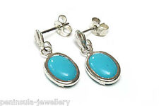 9ct White Gold Turquoise Drop earrings Gift Boxed Made in UK