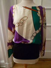 NWT: FLORA KUNG Silk Batwing, Chain Print Blouse, Ivory/Purple/Green/Gold,  8