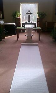 125ft White Fabric Rose Print Wedding Aisle Runner