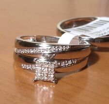 10k White Gold His Her Mens Woman Diamonds Wedding Ring Bands Trio Bridal Set