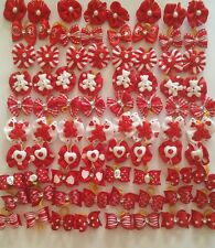 40 pcs Red St.Valentine Rubber band hair bows for dog cat grooming handmade