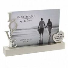 Silverplated LOVE Glass Panel Photo Frame  Love is a Work of Art  Gift