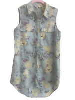 Next Floral Top Shirt Blouse Sleeveless Size 6 Pattern Mint Green Yellow Roses