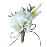 Artificial Calla Flower Corsage Bride Groom Boutonniere Brooch Wedding Decor