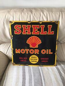 Shell Enamel Sign  car sign motor oil petrol shell service garage sign