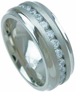 Men's TITANIUM Diamond 8mm Wide Wedding Band Tungsten Silver Fashion Ring Man's