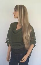 Linen Knitted Moss Green colour Poncho, Shrug, Occasion Summer Wear, Linen wear
