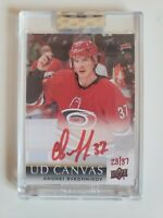 2018-19 Andrei Svechnikov UD Clear Cut Canvas Rookie Auto CS-AS /37 Red Ink