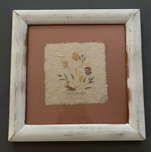Vintage Framed Pressed Dried Wildflowers on Paper by Interia 1993 Cottagecore