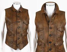 Vtg RALPH LAUREN Blue Label Brown Distressed Leather Vest Hunting Dog Buttons 12