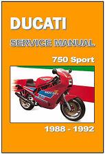 DUCATI Workshop Manual 750 Sport 1988 1989 1990 1991 1992 Service and Repair