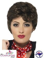 Womens Rizzo Brown Curly Wig Grease Licensed Ladies 1950s Grease Costume