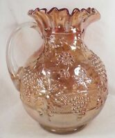 Antique Carnival Glass Pitcher Dugan Vintage Banded Pattern Marigold Ruffled Top