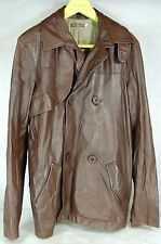 SUPER BEAUTIFUL !!! MIKE & CHRIS MEN LEATHER  FITTED PEA COAT JACKET SIZE  L