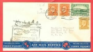 Canada 4c + 8c Pair + 10c used on First Flight Cover FFC 1939 SHEDIAC to Ireland